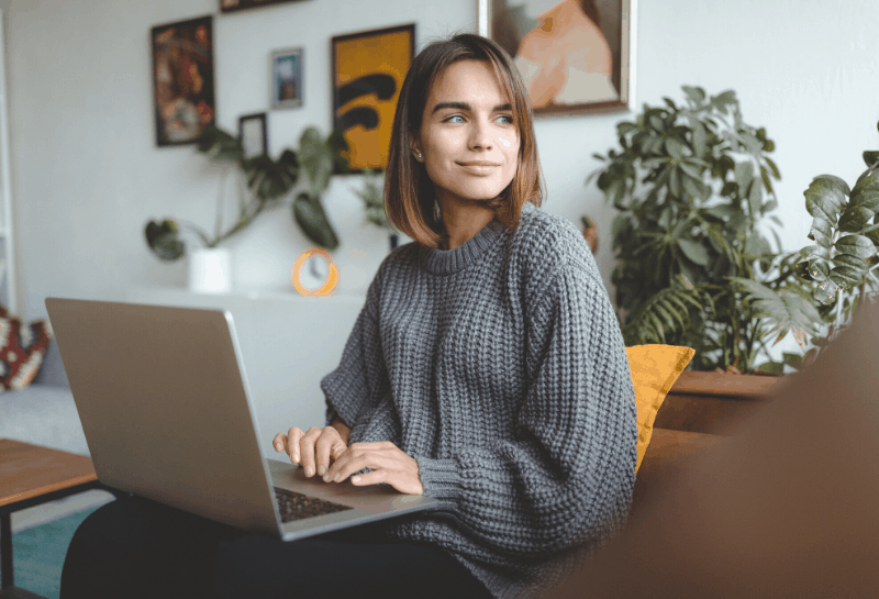 lady working from home
